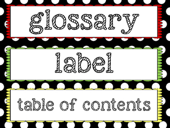Nonfiction Vocabulary Word Wall Cards
