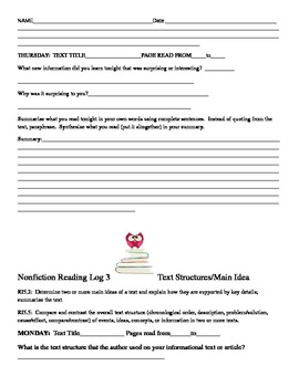 Nonfiction Weekly Reading Logs for homework RI5.1,RI5.2, RI5.5 Common Core