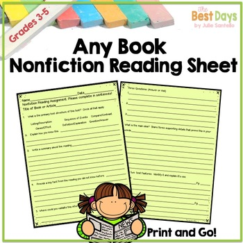 Nonfiction Any Book  Reading Practice Page