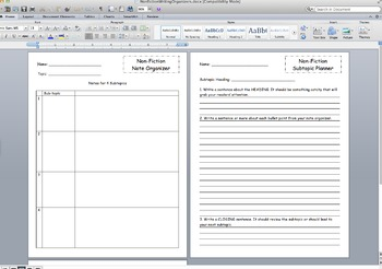 Nonfiction Writing Graphic Organizers