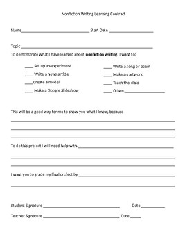 Nonfiction Writing Learning Contracts