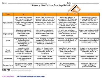 Nonfiction Writing Rubrics & Checklists - Common Core Aligned
