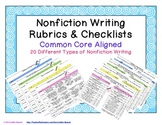 Nonfiction Writing Rubrics & Checklists - Common Core Aligned
