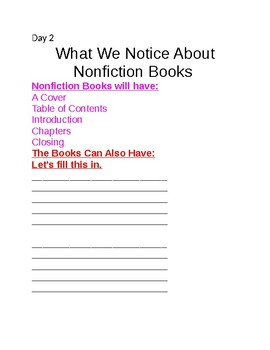 Nonfiction Writing Unit Days 1-4