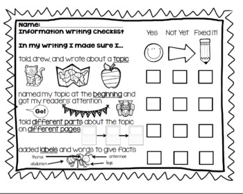 Nonfiction Writing Workshop Conferencing Reminders and Student Editing Checklist