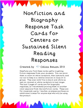 Nonfiction and Biography Task and Response Cards in PDF