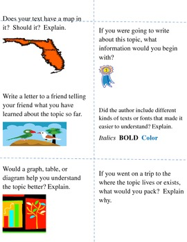 Nonfiction and Biography Task and Response Cards in Word
