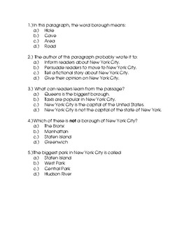 Nonfiction and Fiction 3rd Grade Reading Comprehension Packet