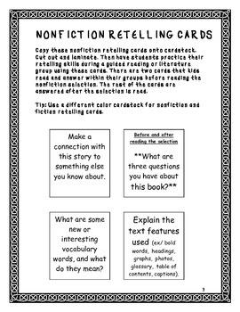 Nonfiction and Fiction Retelling Cards: Grades 2-6