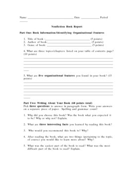 Nonfiction book report sheet