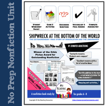 Nonfiction book unit: Shipwreck at the Bottom of the World by Jennifer Armstrong by My Reading Resources