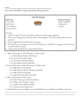 Nonfiction practice with advertisement and recipe