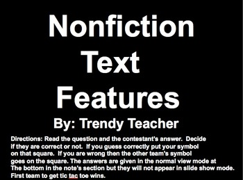 Nonfiction text features Hollywood Squares Game PART 2!!!!