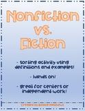 Nonfiction vs. Fiction Defintion Sort