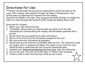 Informational Text Reading Response:Fast Fact Cards