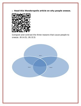 Nonficton QR Code Activity 4th or 5th Grade - Great Test Prep