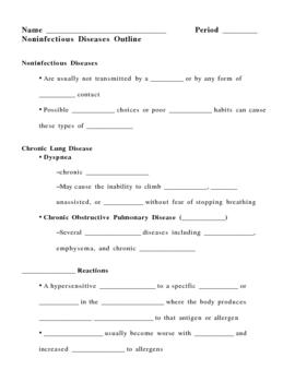 Noninfectious Diseases Notes Outline Lesson Plan