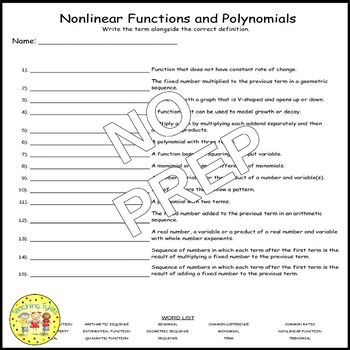 Nonlinear Functions and Polynomials Matching