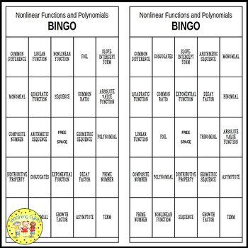 Nonlinear Functions and Polynomials Pre-Algebra BINGO