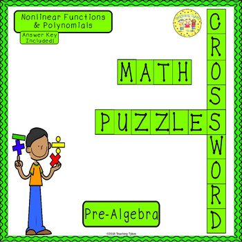 Nonlinear Functions and Polynomials Pre-Algebra Crossword Puzzle