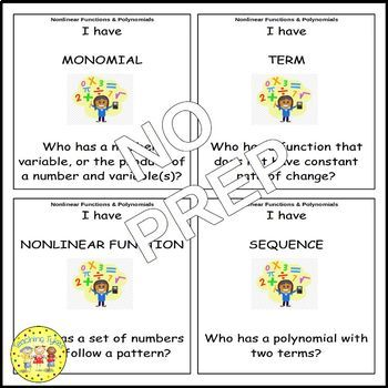 Nonlinear Functions and Polynomials Pre-Algebra I Have, Who Has
