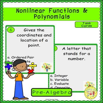 Nonlinear Functions and Polynomials Pre-Algebra Task Cards