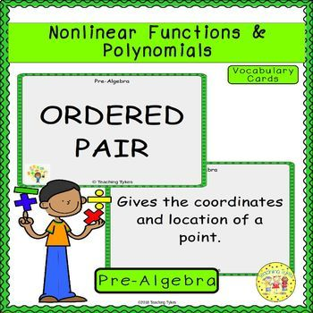 Nonlinear Functions and Polynomials Pre-Algebra Vocabulary Cards