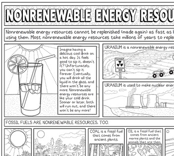 Nonrenewable Energy Resources Coloring Page With Crossword