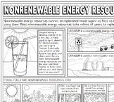 Nonrenewable Energy Resources Coloring Page with Crossword Puzzle