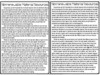 Nonrenewable Material Resources Reading Comprehension Interactive Notebook