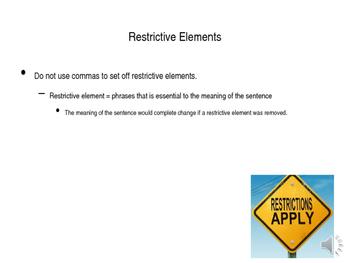 Nonrestrictive Elements Comma PPT