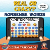 Nonsense CVC Words Digital Boom Cards for Distance Learning