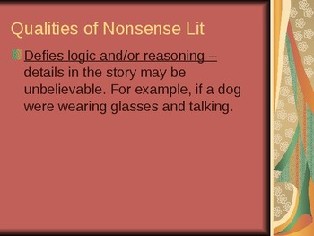 Nonsense Literature Slides; Linguistics, Carroll and Lear
