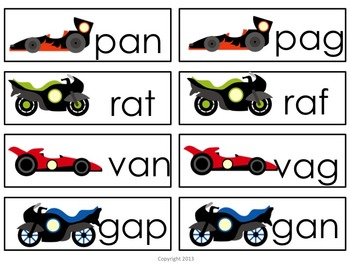 Nonsense Race Car Word Sorts for Literacy Centers