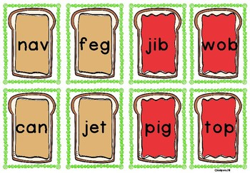 Nonsense & Real Word Pocket Chart Sort~Peanut Butter and Jelly