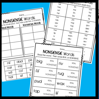 Nonsense Word Activities- Dibels