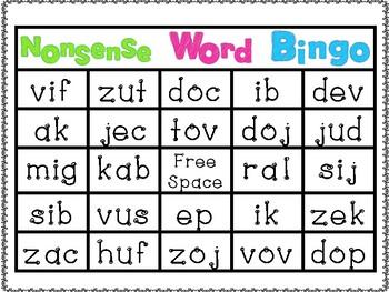 Nonsense Word Bingo