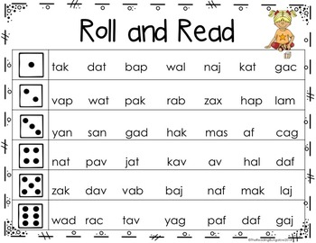 Nonsense Word (CVC) Roll and Read {GREAT for DIBELS/RTI}