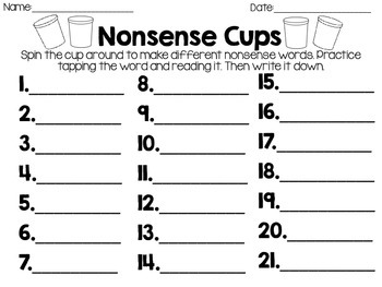 Nonsense Word Cups