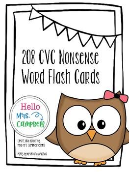 Nonsense Word Flash Cards