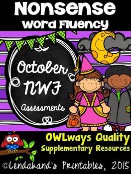 Halloween Nonsense Word Fluency R.T.I. ASSESSMENT Pack for October