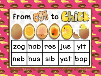 Egg to Chick Nonsense Word Fluency RTI Resource BLACKout Bingo Game