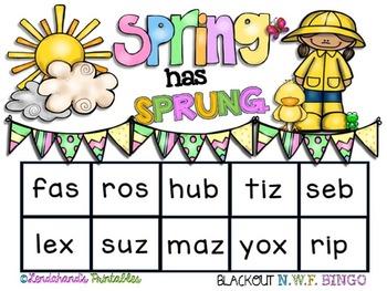 Nonsense Word Fluency BLACKout Bingo Game (Spring Theme)