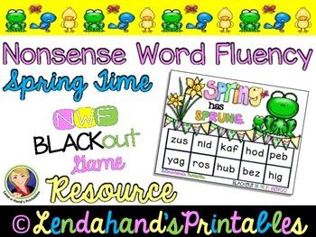 Spring Nonsense Word Fluency RTI Resource BLACKout Bingo Game