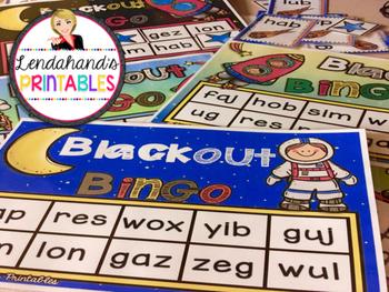 Moon Nonsense Word Fluency R.T.I. Resource BLACKout Bingo Game