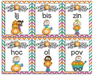 Autumn Nonsense Word Fluency BLACKout Bingo RTI Resource