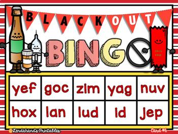 Nonsense Word Fluency BLACKout Bingo Game (RED RIBBON Drug Free Theme)