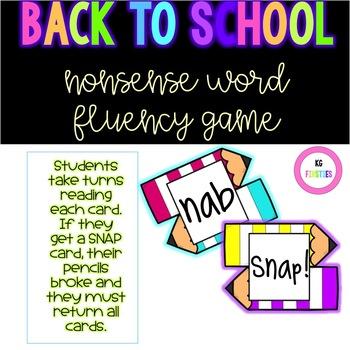 Nonsense Word Fluency Back to School Game
