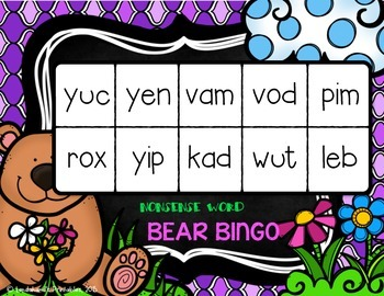 Nonsense Word Fluency Bingo by Ms. Lendahand (Bear Theme)