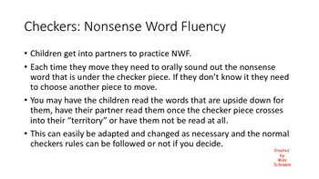 Nonsense Word Fluency Checkers Game Boards NWF Practice Activity